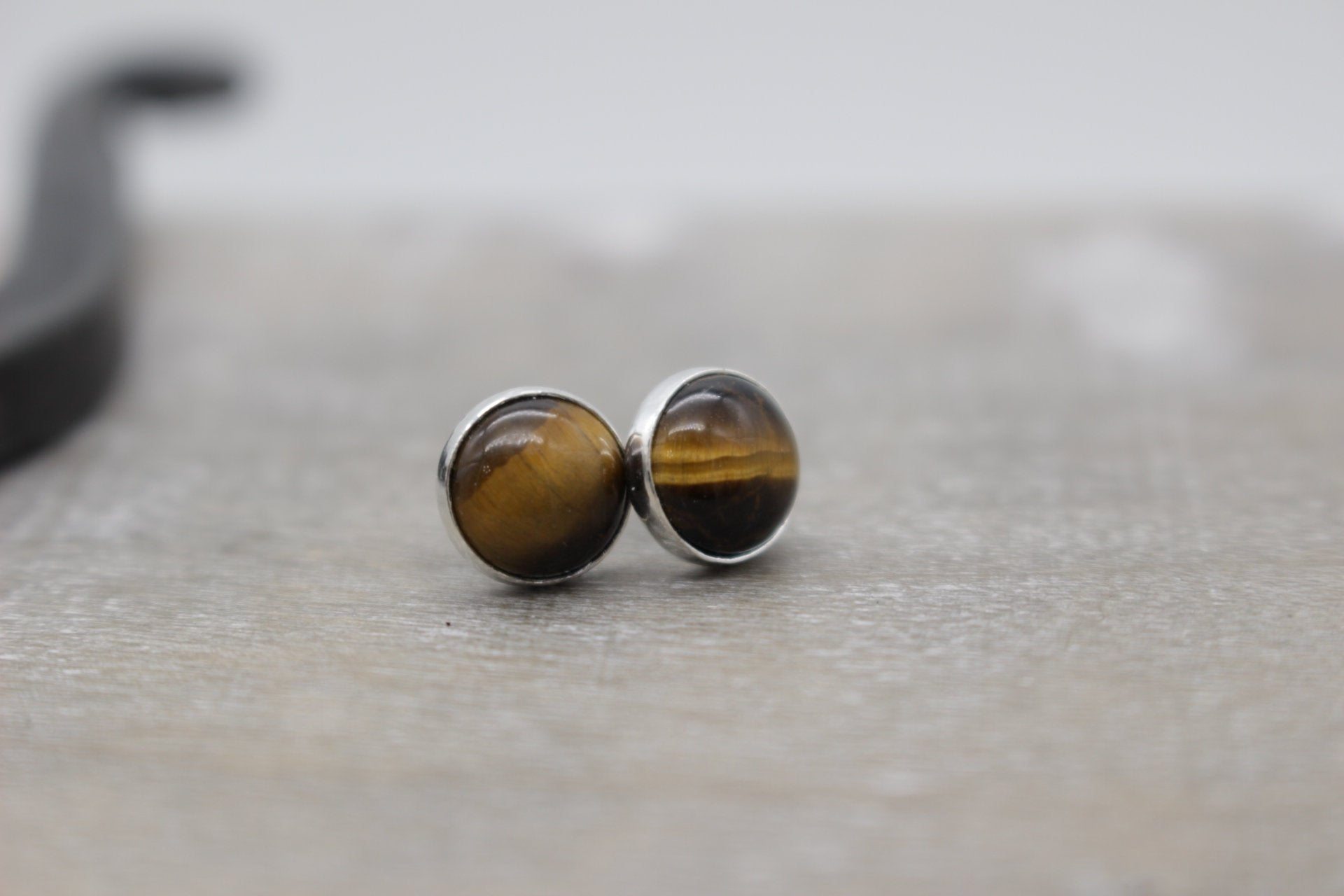 Tiger Eye Stud Earrings - Large Sterling silver earrings - gift for her - jewelry sale - tiger eye - Studs