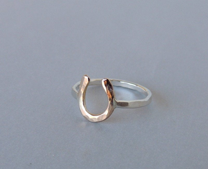Silver Gold Horseshoe Ring - Horseshoe Ring - Lucky - Gift - Jewelry sale - Midi Ring