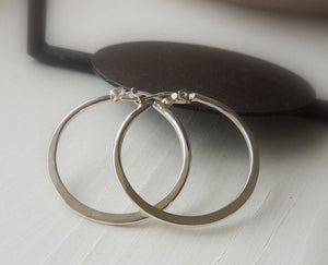 One Inch Hoop Earrings - Sterling Silver Hoop Earrings - Plain Hoops - Click Latch Earrings