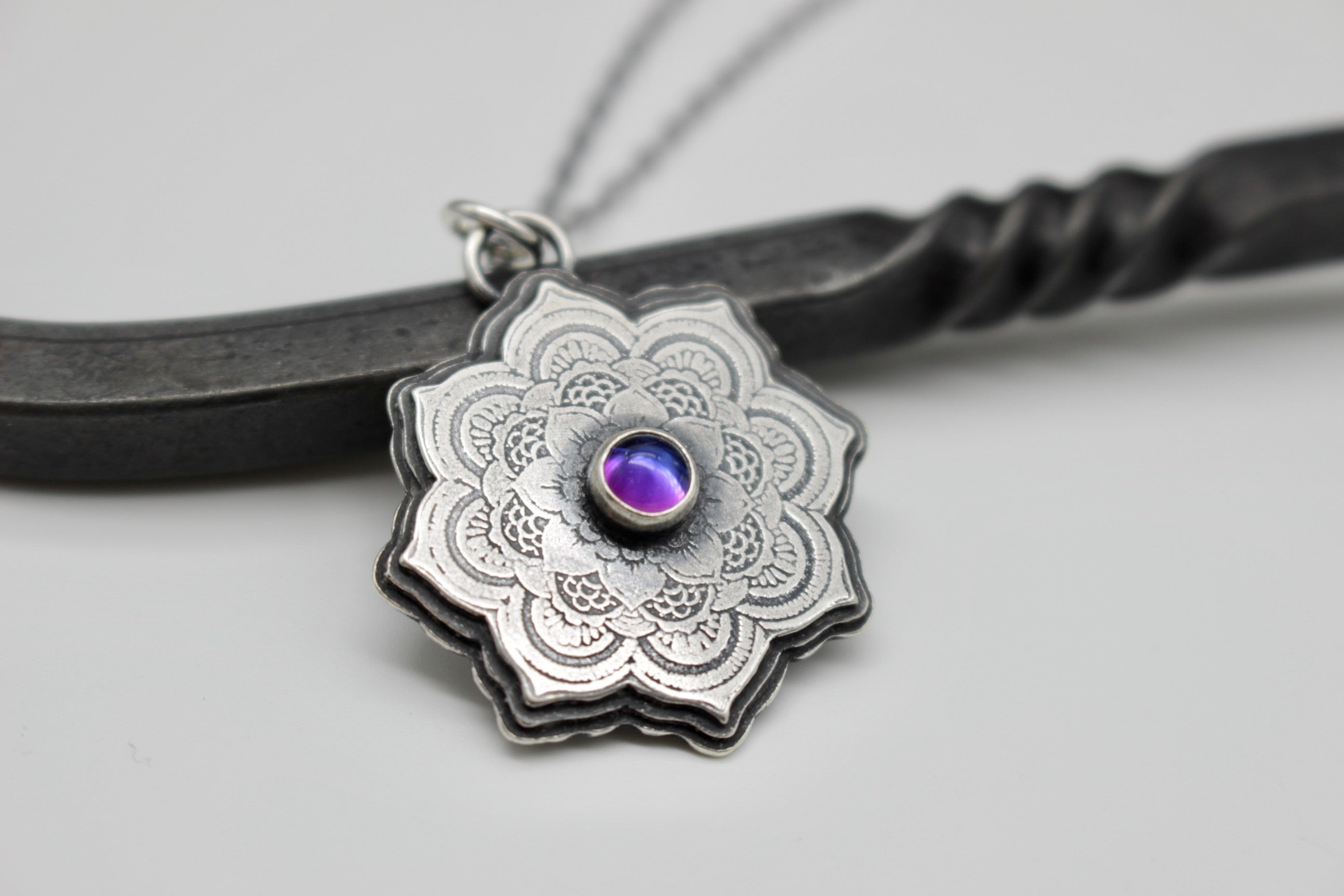 Sterling silver mandala necklace