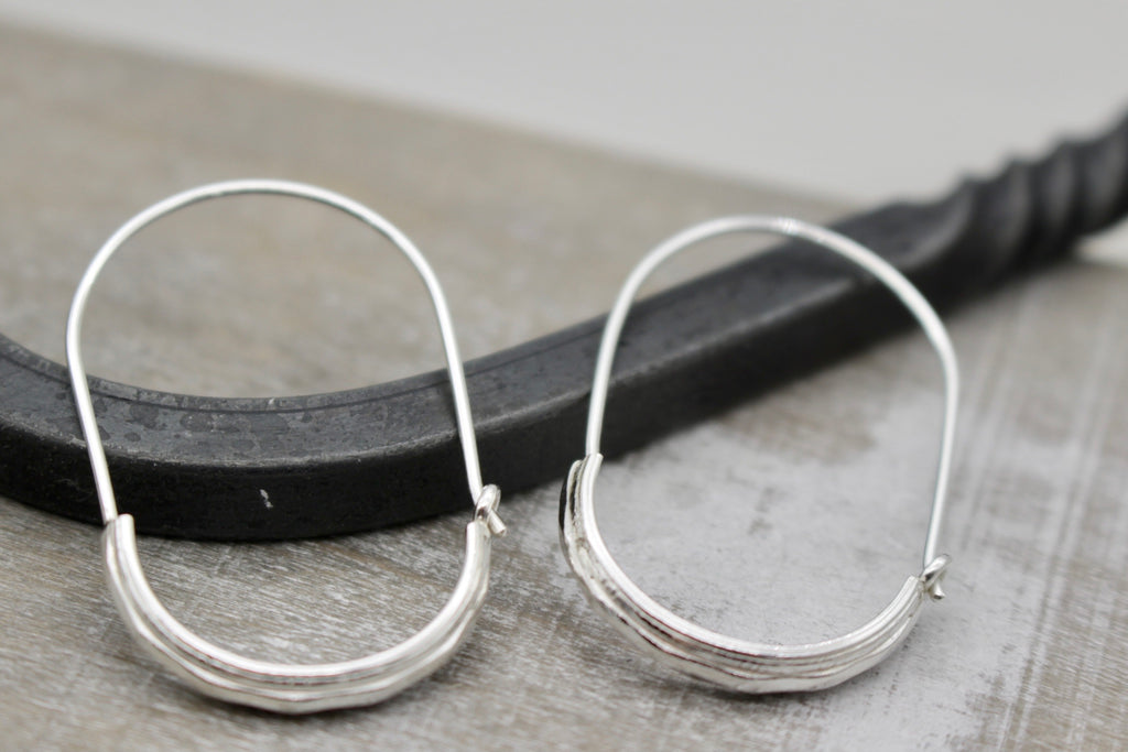 Diamond Pattern Sterling Silver Hoops