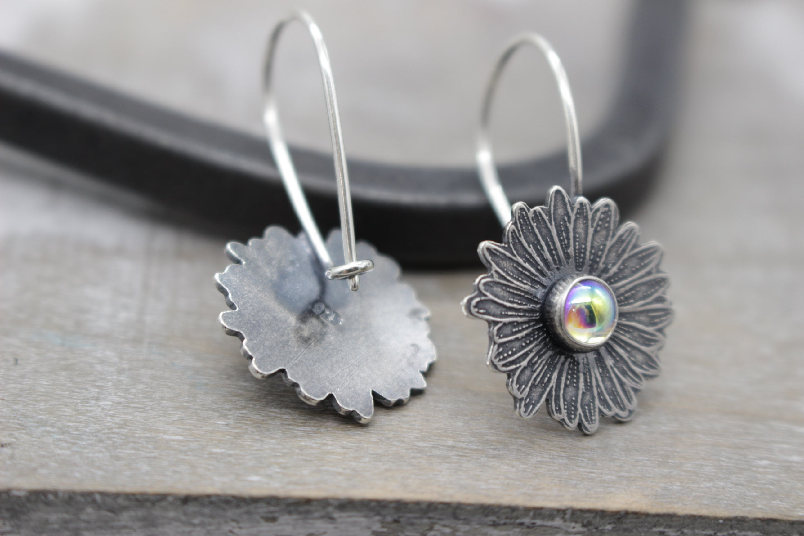 Clear aura borealis Sterling silver daisy earrings