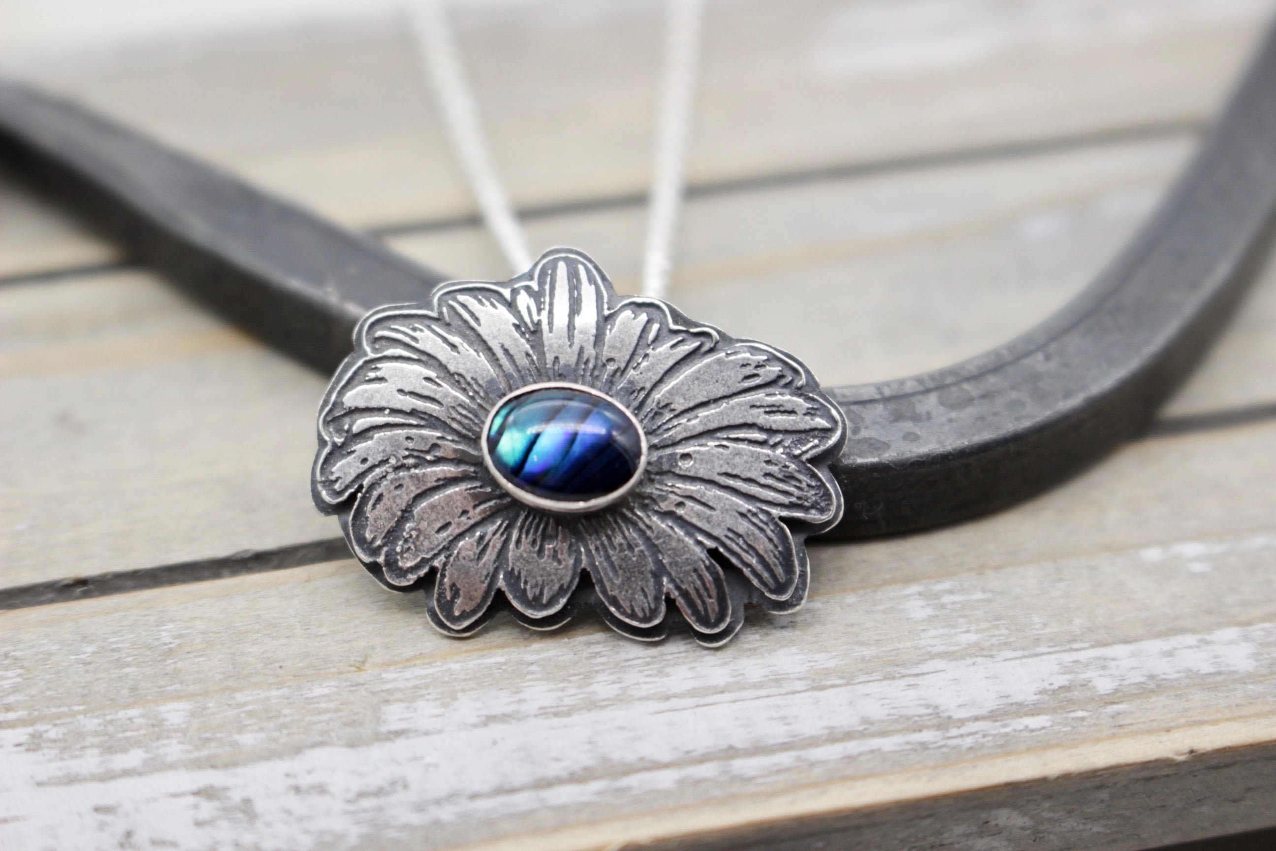 Sterling silver and abalone daisy necklace