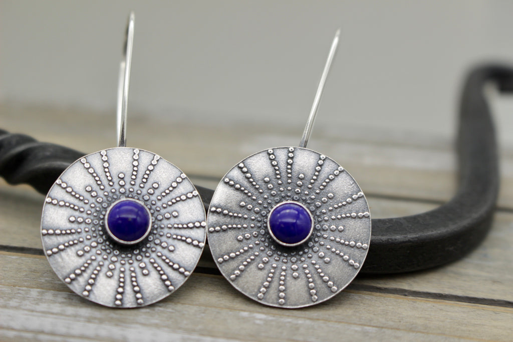 Lapis Mandala hoop earrings