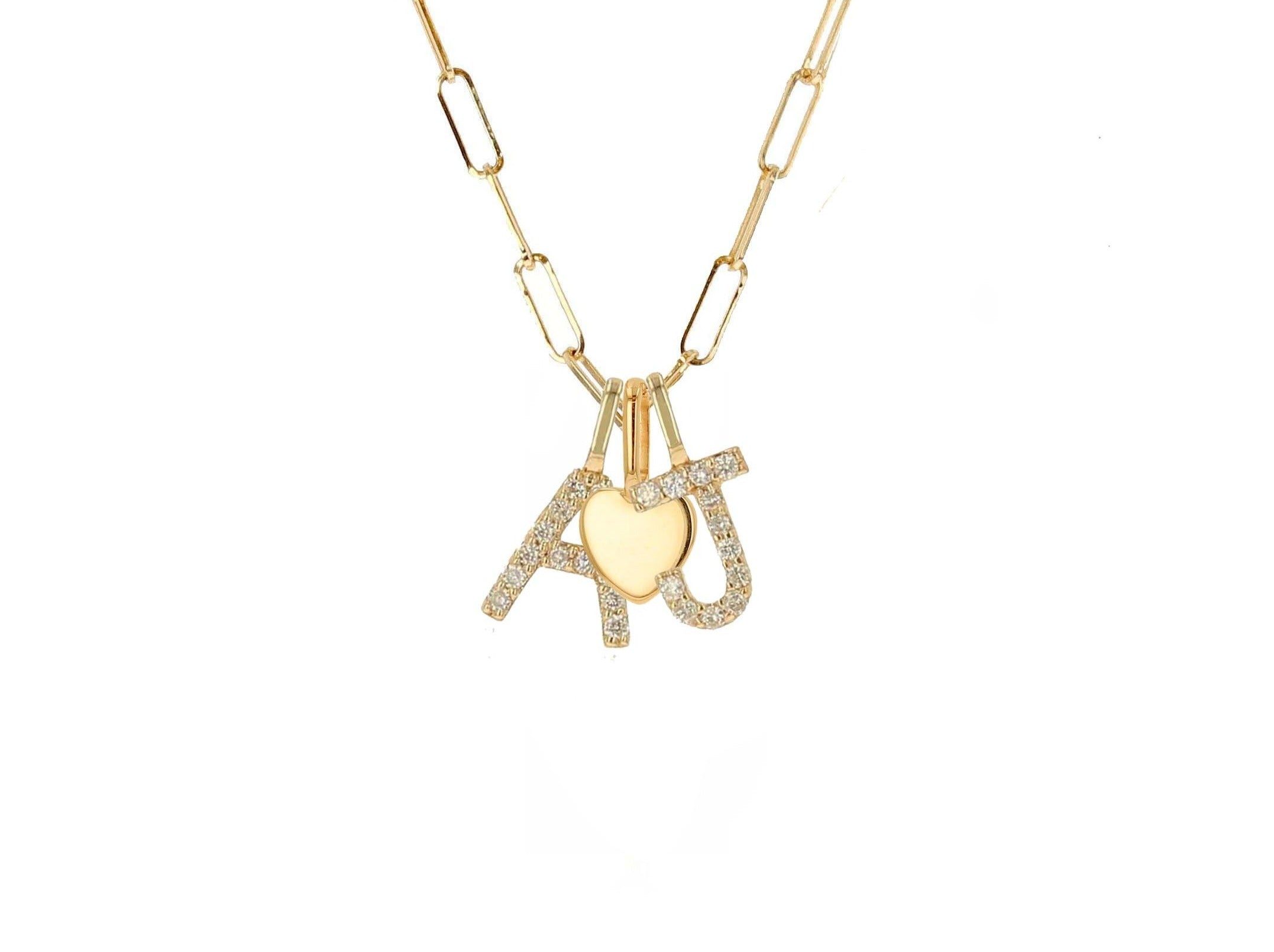Necklace with Mini Gold Heart &  Choice of Two Diamond Letters - Rachel Reid