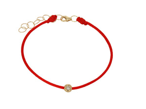 Diamond and Red String Bracelet - Rachel Reid Jewelry