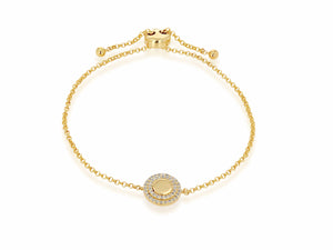 Double Diamond Halo Bolo Bracelet - Rachel Reid Jewelry