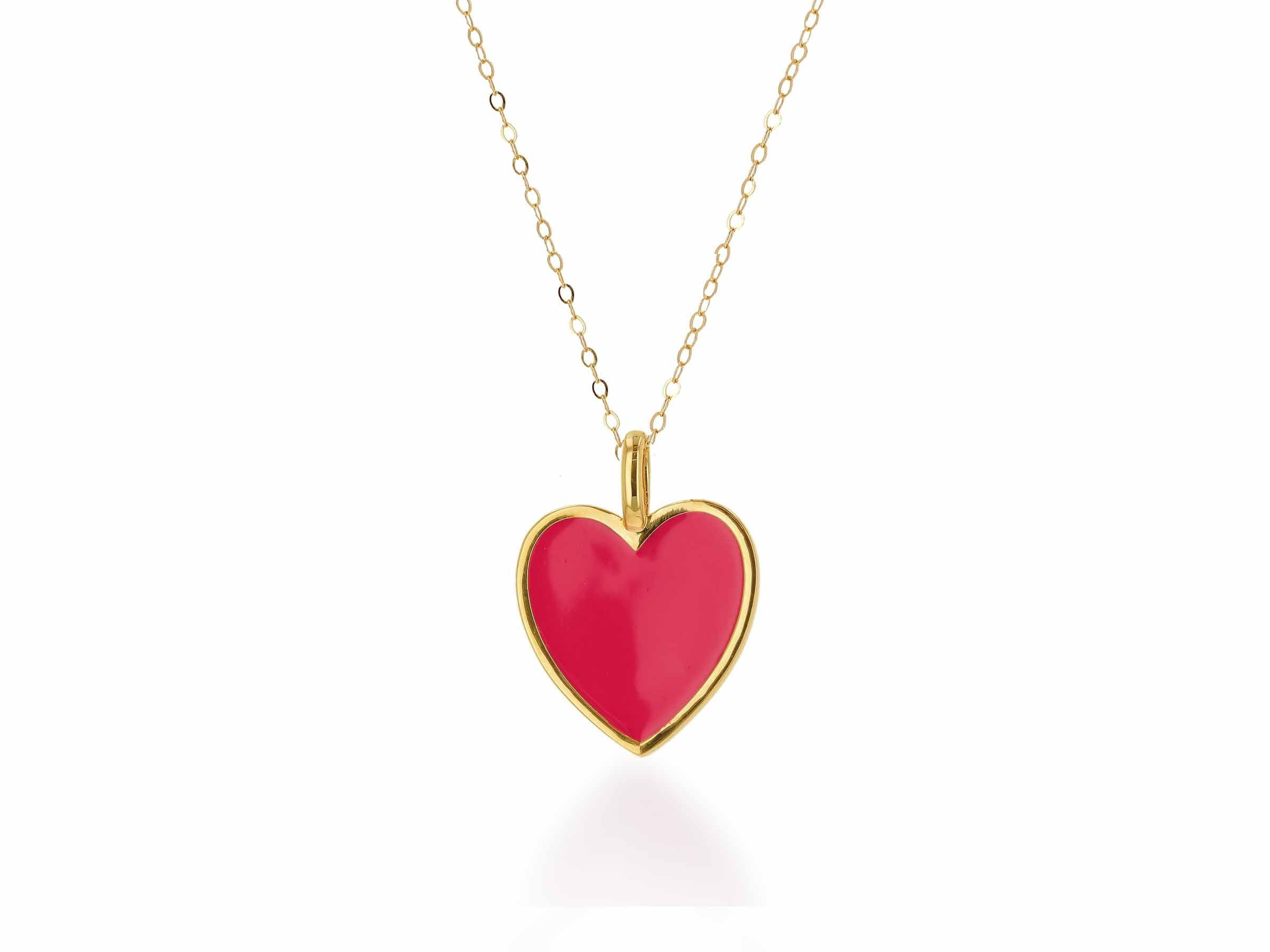 Oversized Hot Pink Enamel Heart Charm