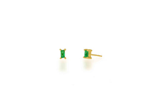 Emerald Baguette Stud Earrings - Rachel Reid Jewelry