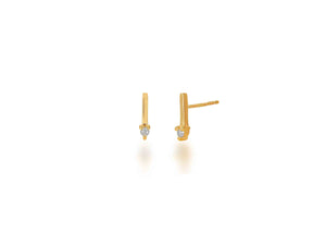 Diamond and Gold Bar Stud Earrings - Rachel Reid