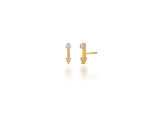 Pearl and Diamond Bar Stud Earrings - Rachel Reid