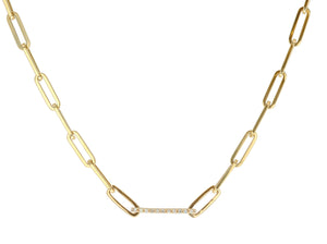 Single Diamond Link Chain Necklace - Rachel Reid Jewelry