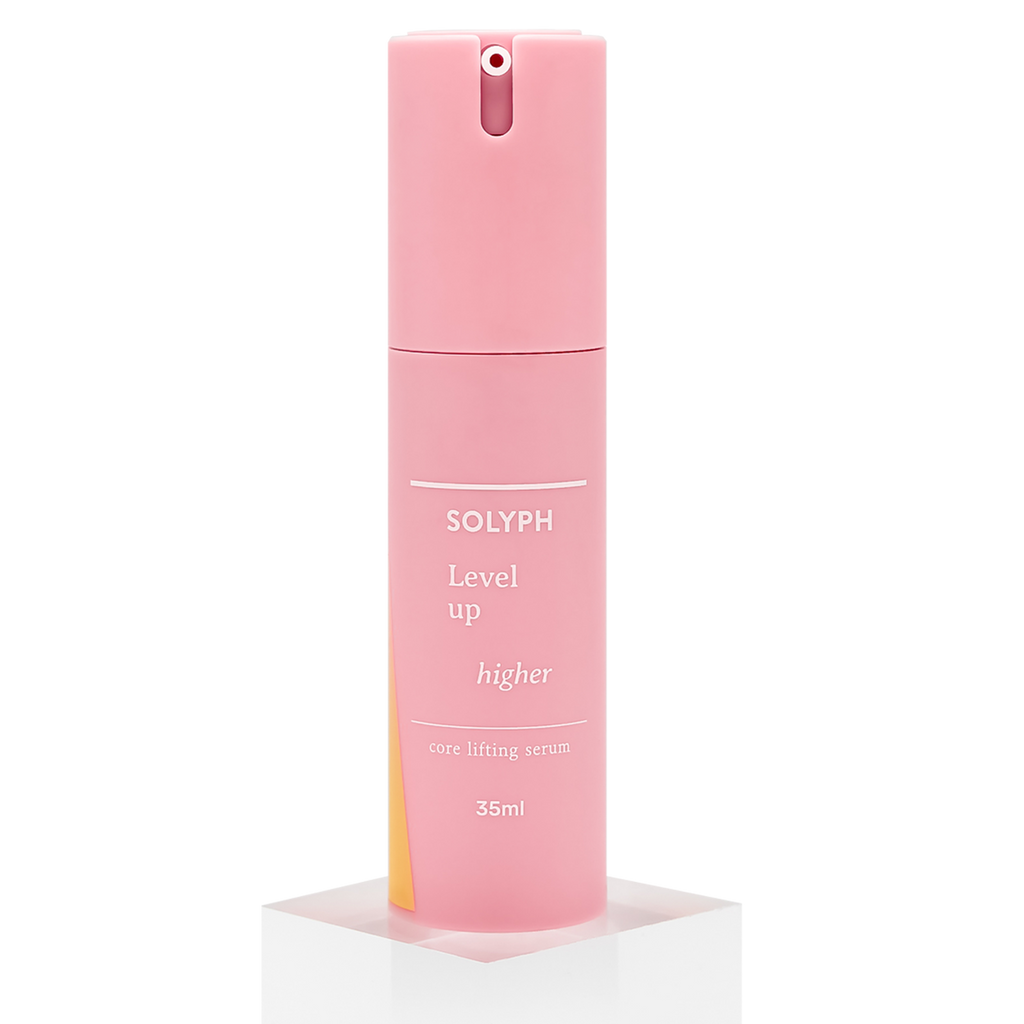 SOLYPH - Level Up Higher, Core Lifting Serum. Elevate your skin's immunity to the next level. Active Hyaluronic Acid and Phyto-complex penetrates deeply to restore skin vitality to its core. It lifts and firms to create radiant, elastic skin and reduces wrinkles.