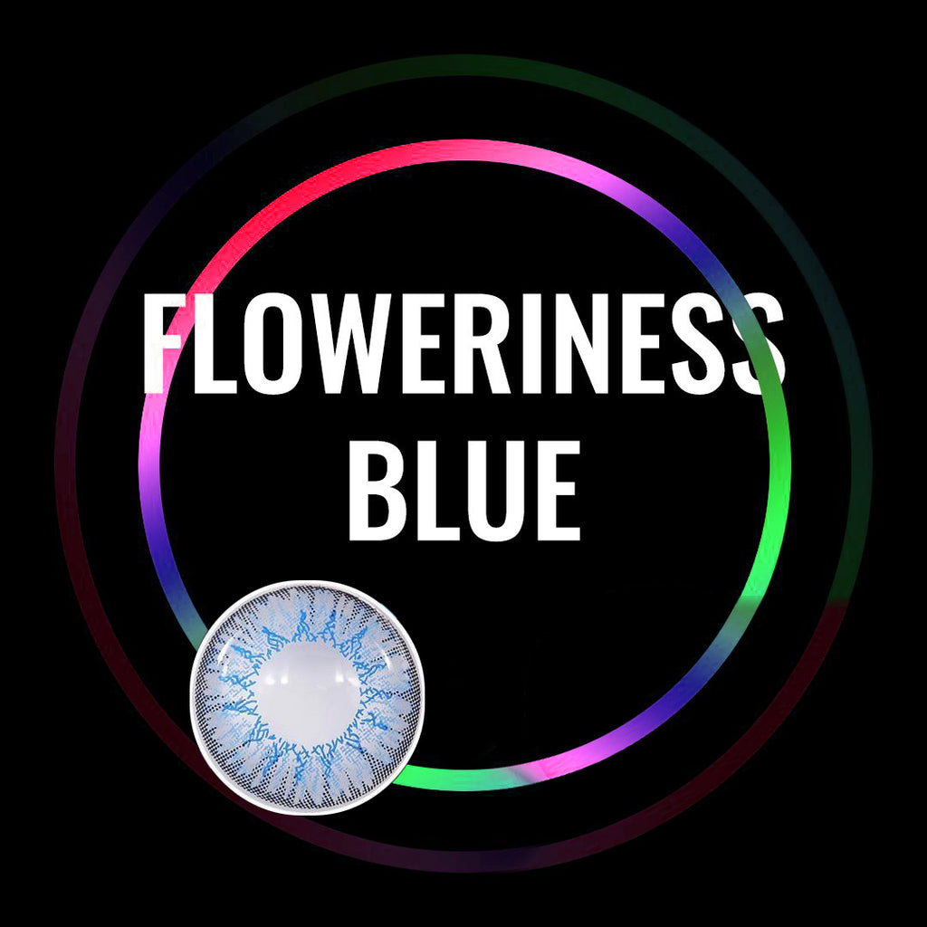 Eye Circle Lens Floweriness Blue prescription colored contact lenses-Eyemi