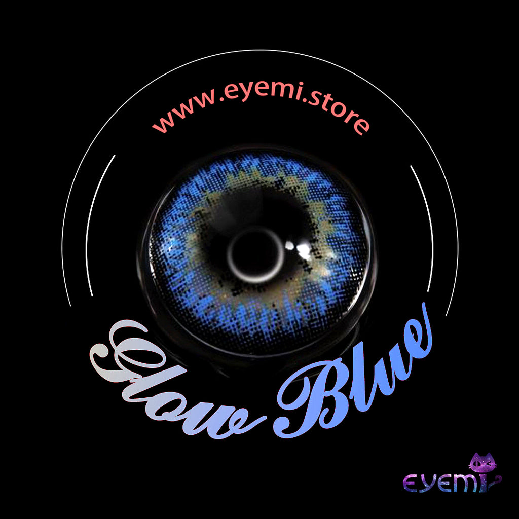 Eye Circle Lens Glow Blue prescription colored contact lenses-Eyemi