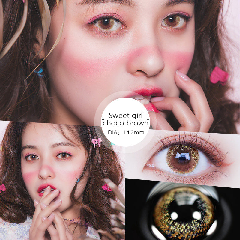 Eye Circle Lens Sweet Girl Brown prescription colored contact lenses-Eyemi