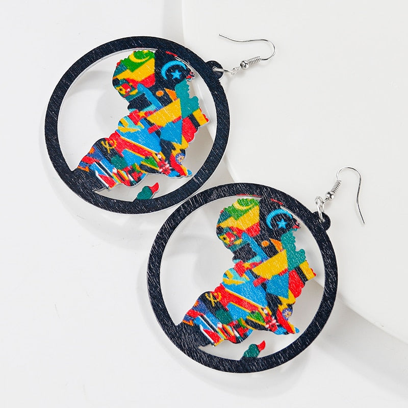 Africa Map Wooden Drop Earrings