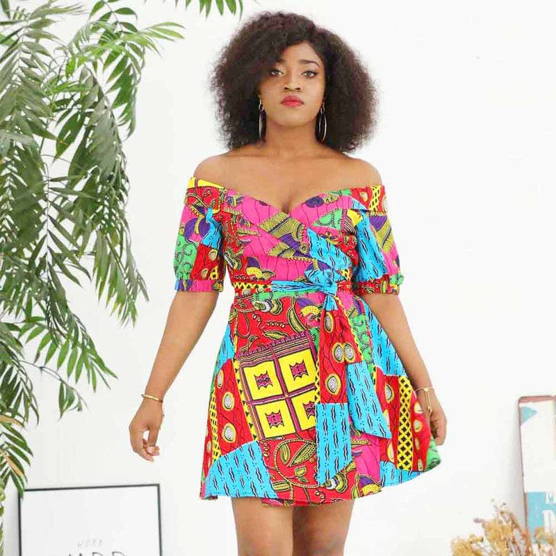 Off the Shoulder Dress Ankara Print