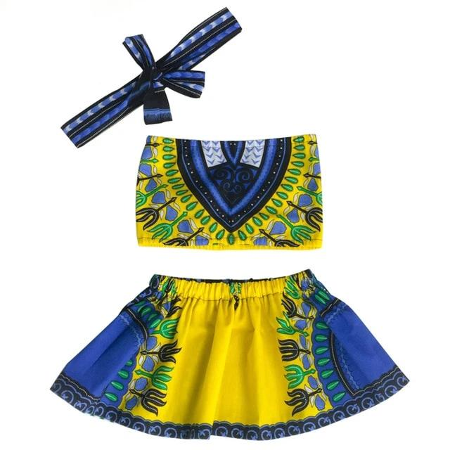 Cotton Material top+ Skirt +Headband Set