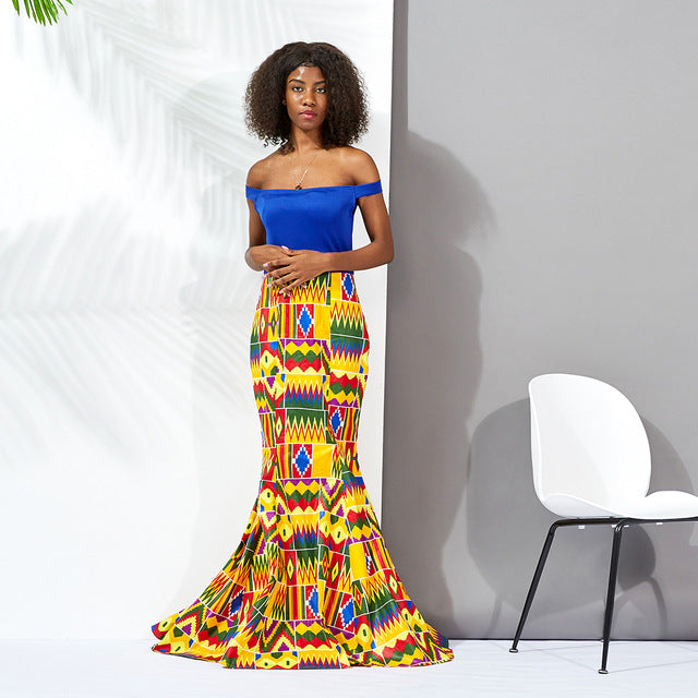 Off the Shoulder , Ankara Print Long Skirt