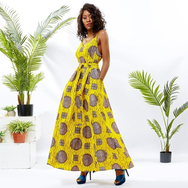 Halter long dresses african for women