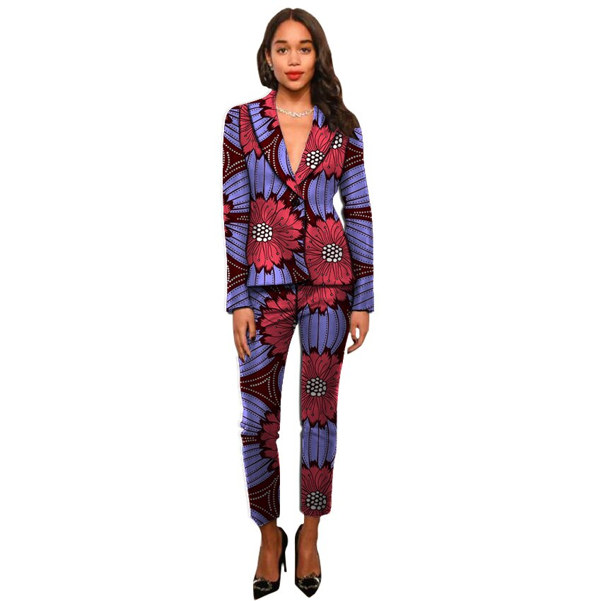 Ankara suits fashion African print women blazers with trousers