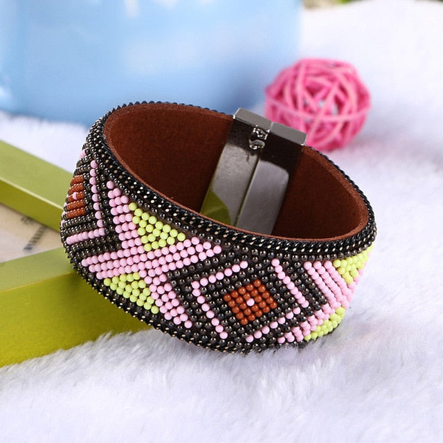Retro National Style Bead Bangle