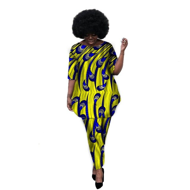 African Women Fashion Print Tops+Pants Sets Ladies T-shirt African Women African Women Clothing Plus Size Party Customized