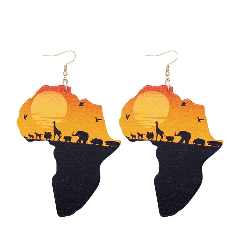 Animal Painted Pendant Earrings