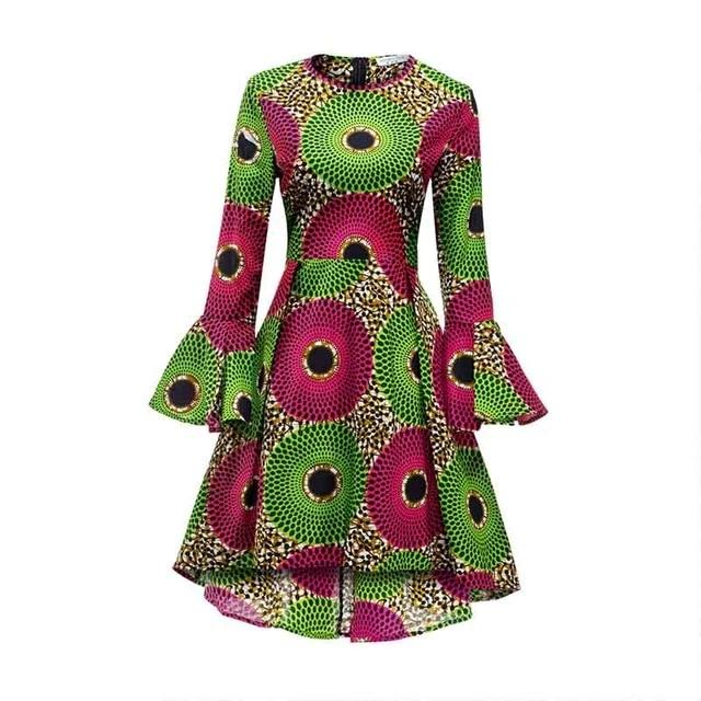 Women Long Sleeve Dresses (African Ankara Print)