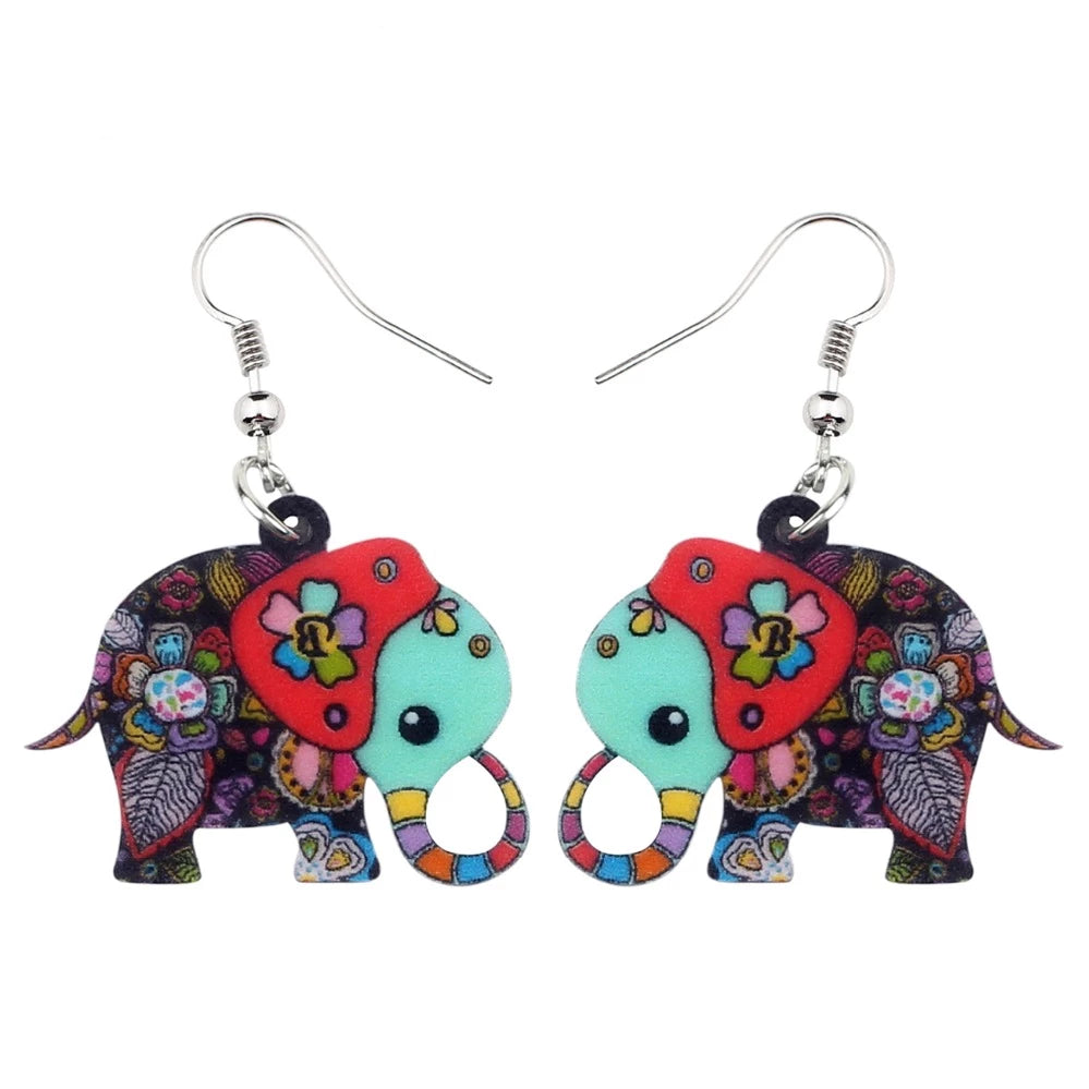 Cartoon Floral Jungle Elephant Earrings