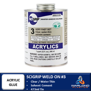 SCIGRIP WELD-ON #3 / ACRYLIC CEMENT GLUE / QUICK DRY / WATER THIN / 473ml