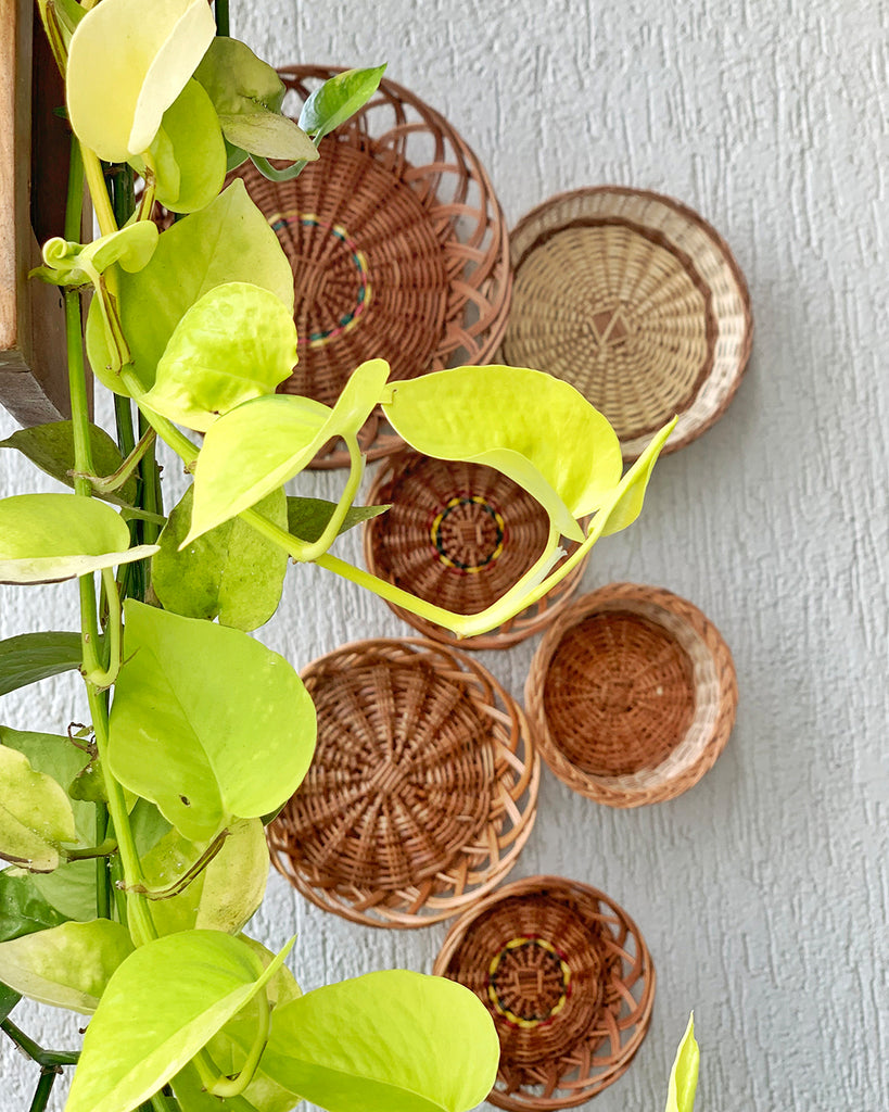 Natural round wicker baskets with the natural shade of wicker for gallery wall décor/ wall Installation.