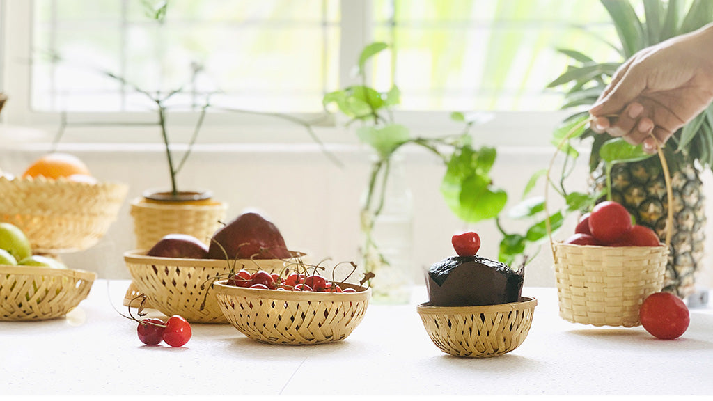 DaisyLife natural bamboo baskets for decor, storage and organisation