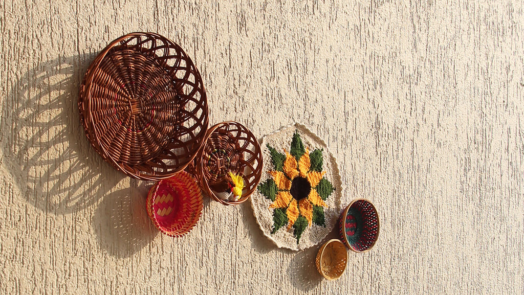 Natural material wicker baskets for wall décor/ wall installation