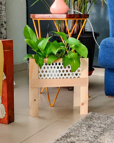 Planter stand made with bamboo mesh