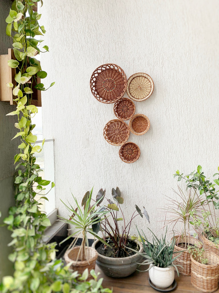 Natural round handmade wicker basket for gallery walls décor/ wall installation