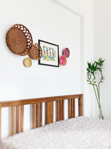 Natural material wicker baskets for bedroom wall décor/ wall installation