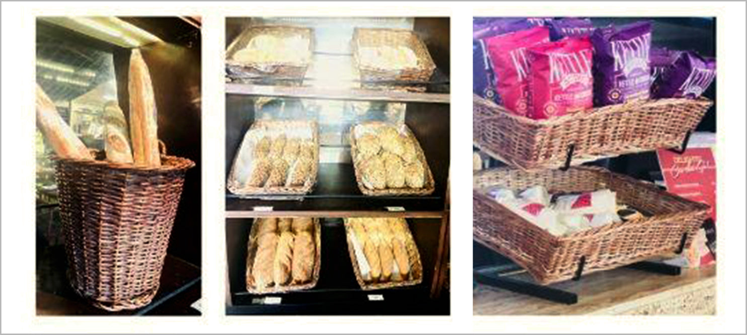 Wicker basket for bakery display at Indigo deli