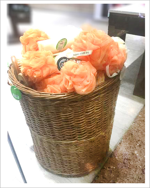 Wicker basket at The Body Shop for loofah display