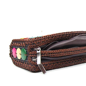 DaisyLife eco-friendly natural coconut shell multicolor hand clutch side angle