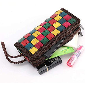 Colour Cubes - Natural coconut shell clutch