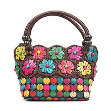 Load image into Gallery viewer, DAISYLIFE Natural and eco friendly coconut shell floral multi-color handbag purse