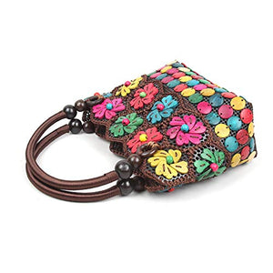 DAISYLIFE Natural and eco friendly coconut shell floral multi-color handbag purse