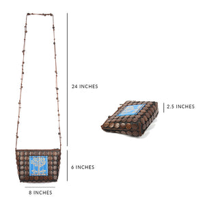 DAISYLIFE Natural Color and Eco-friendly Coconut Shell and Bamboo Carving Sling Bag