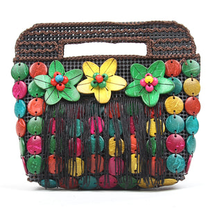 DAISYLIFE Natural and Eco-Friendly Coconut Shell Multi-Color Clutch/Purse/Handbag with handle