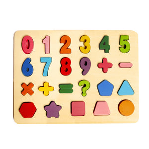 DAISYLIFE Natural and Eco-Friendly Wooden Alphabet, Number and Shape Puzzle Educational Boards