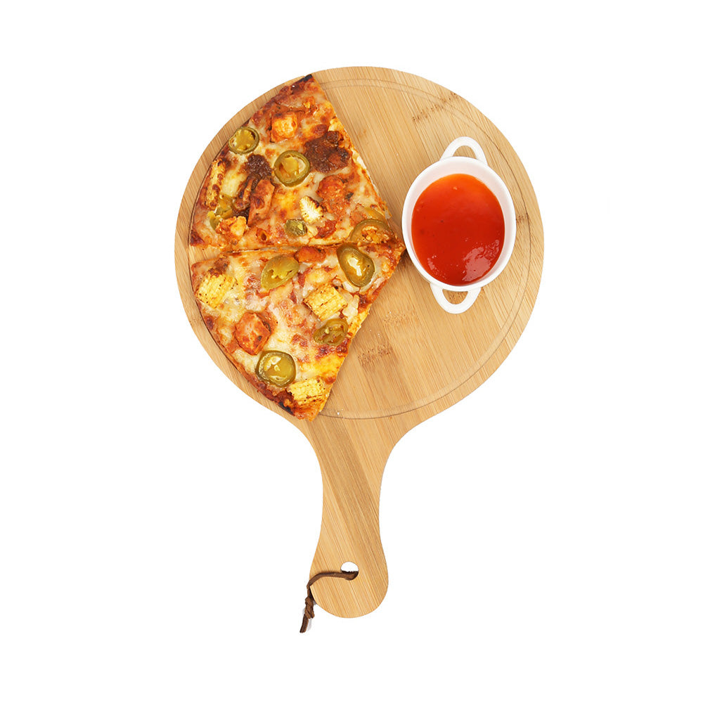 DAISYLIFE Natural and Eco-Friendly Bamboo 10 / 8 Inch Pizza Platter and Serving Tray