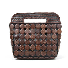 "Load image into Gallery viewer, ""Suave Browns"" Natural brown coconut shell mini handbag"