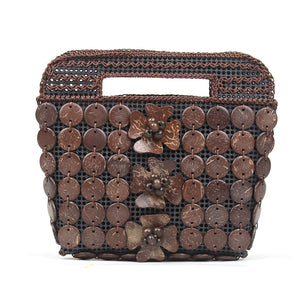 DAISYLIFE Natural and Eco-Friendly Coconut Shell Fashion Handbag/Purse/Clutch in Brown Color